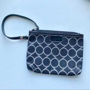 Nine West Black and Tan Zippered Wristlet